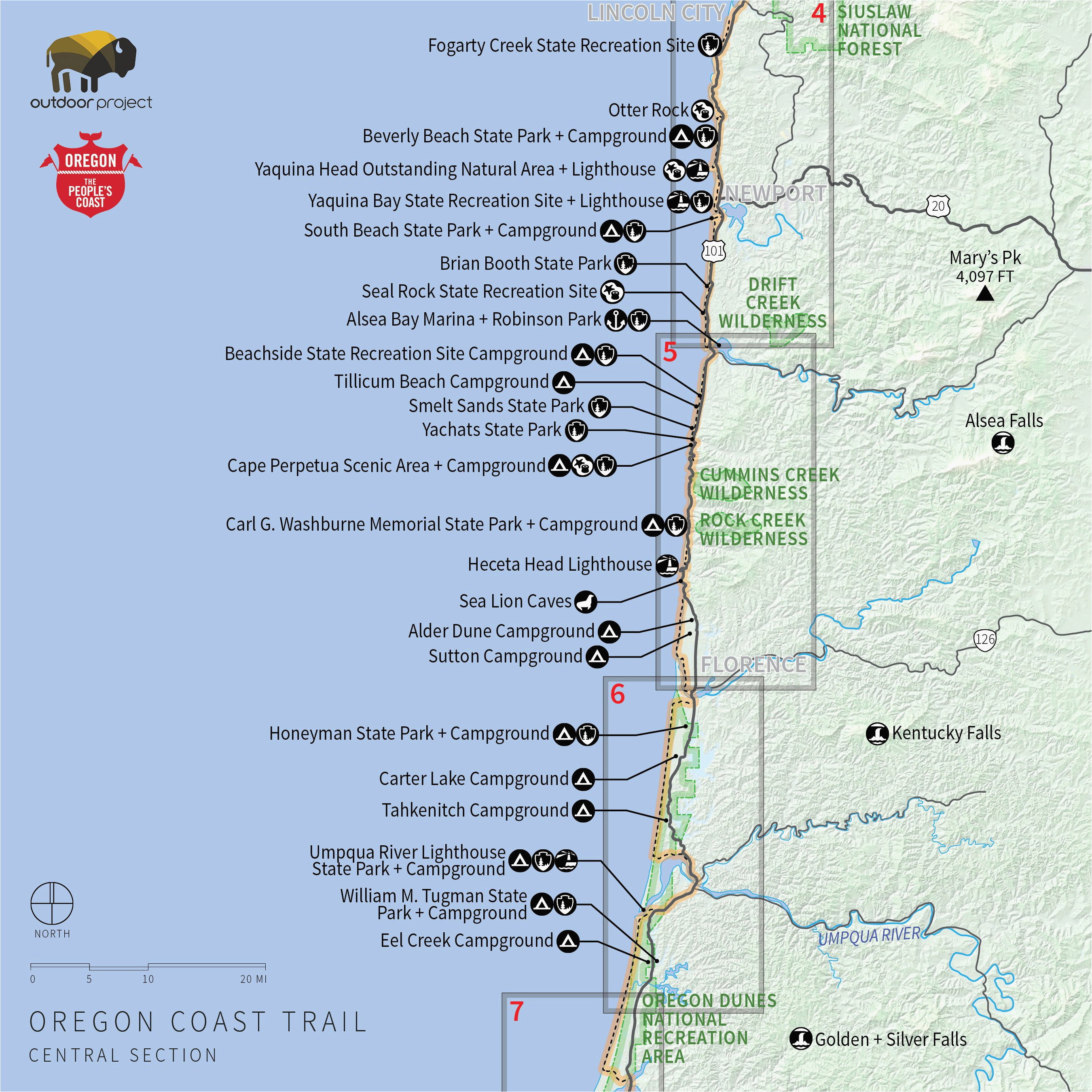 Washington and oregon Coast Map Camping oregon Coast Map ...
