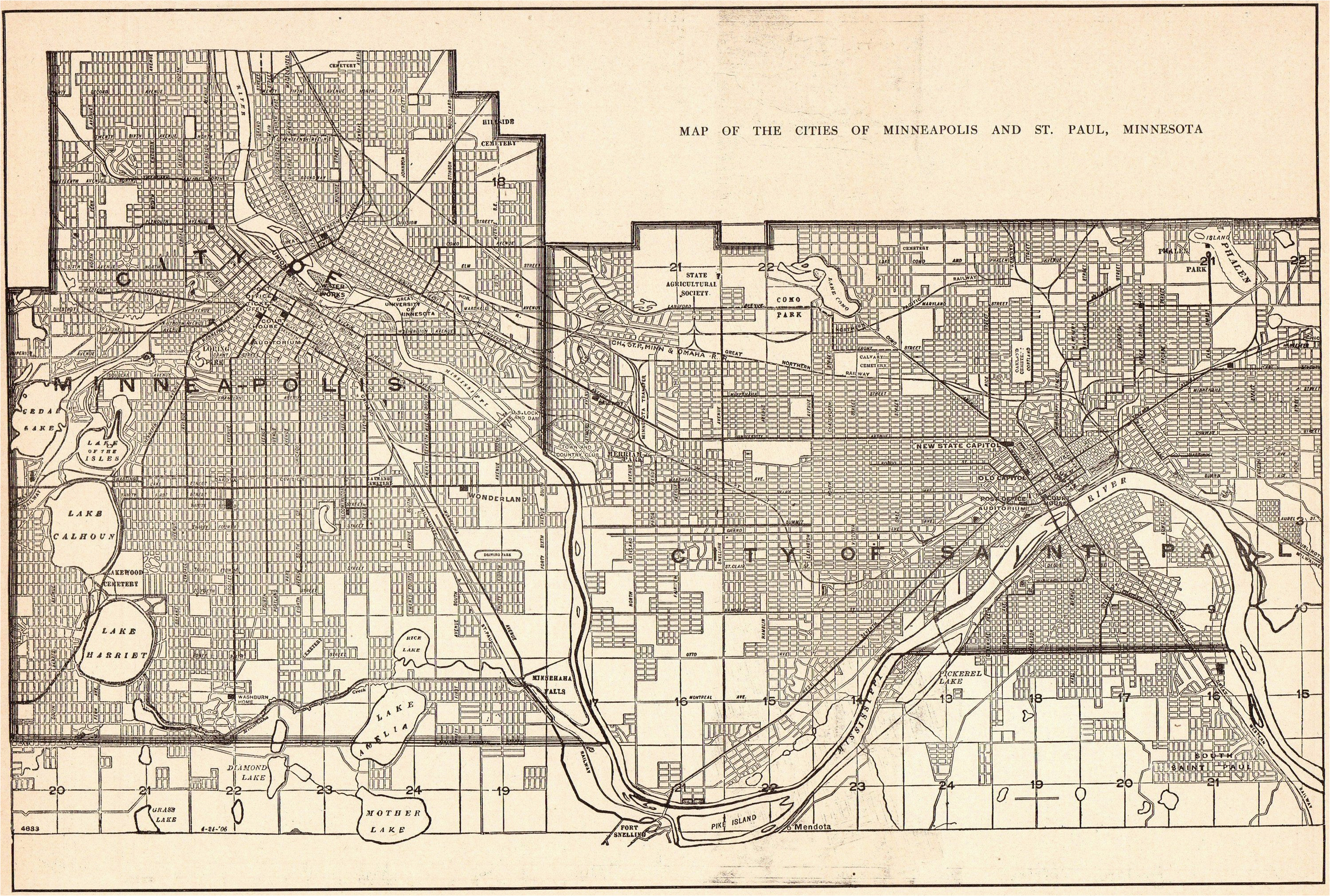 1926 antique minneapolis map of st paul print map black and white