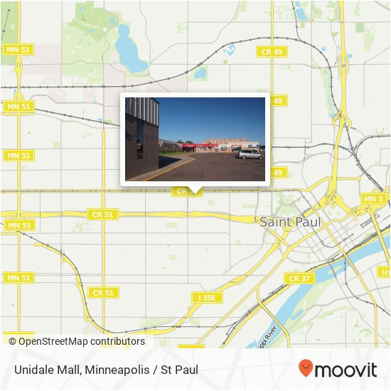 how to get to unidale mall in st paul by bus light rail or train