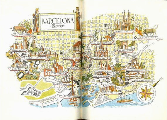 Map Of Spain To Print.Barcelona Italy Map Barcelona Map Print Vintage City Of Barcelona