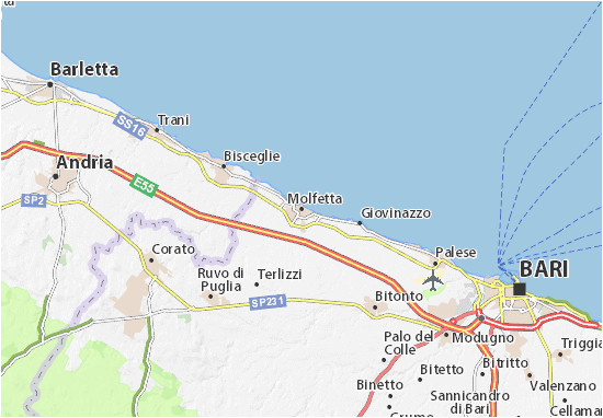 molfetta map detailed maps for the city of molfetta viamichelin