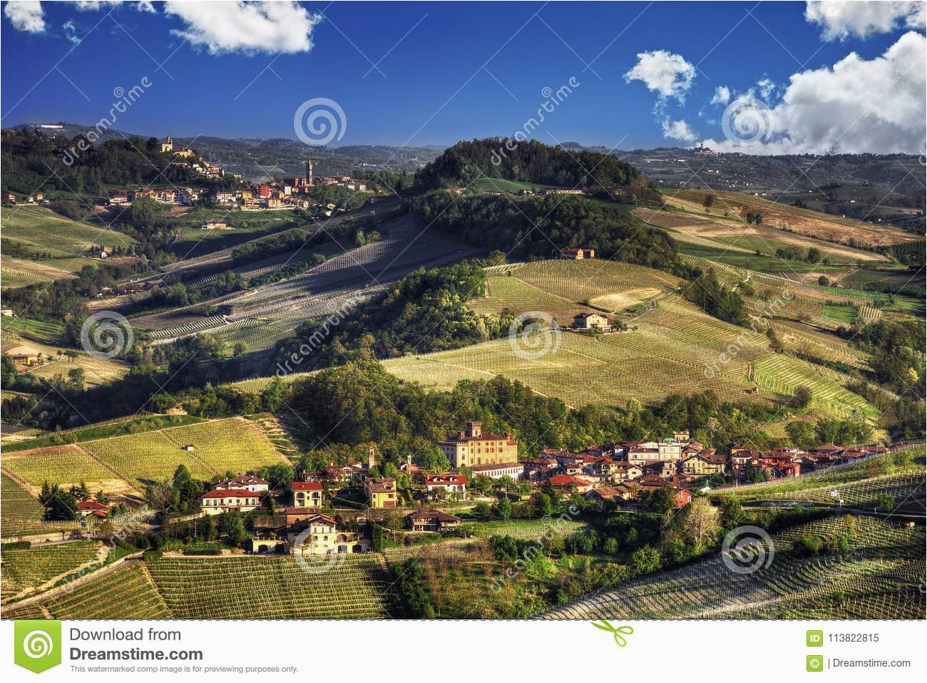 panorama of the langhe barolo and monforte d alba stock image