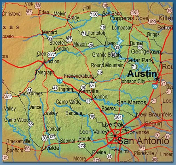 Camp Wood Texas Map Texas Hill Country Map With Cities