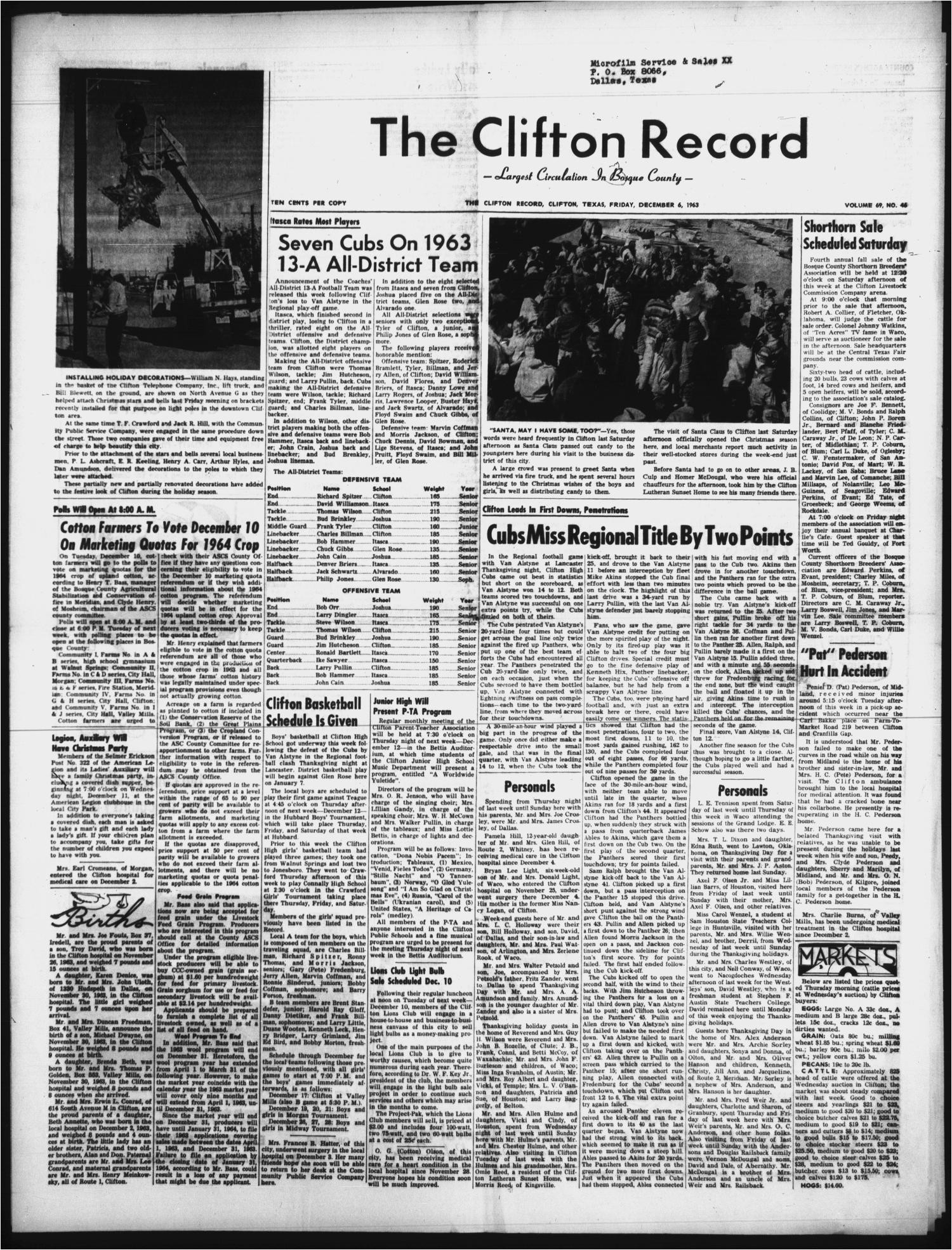 the clifton record clifton tex vol 69 no 46 ed 1 friday