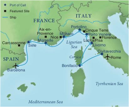 Map Of France Coast.Coast Of Italy Map Cruising The Rivieras Of Italy France Spain