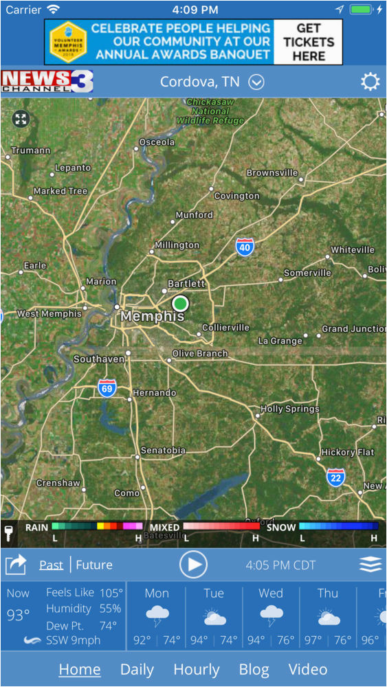 Cordova Tennessee Map Wreg Memphis Weather App for iPhone Free Download Wreg Memphis