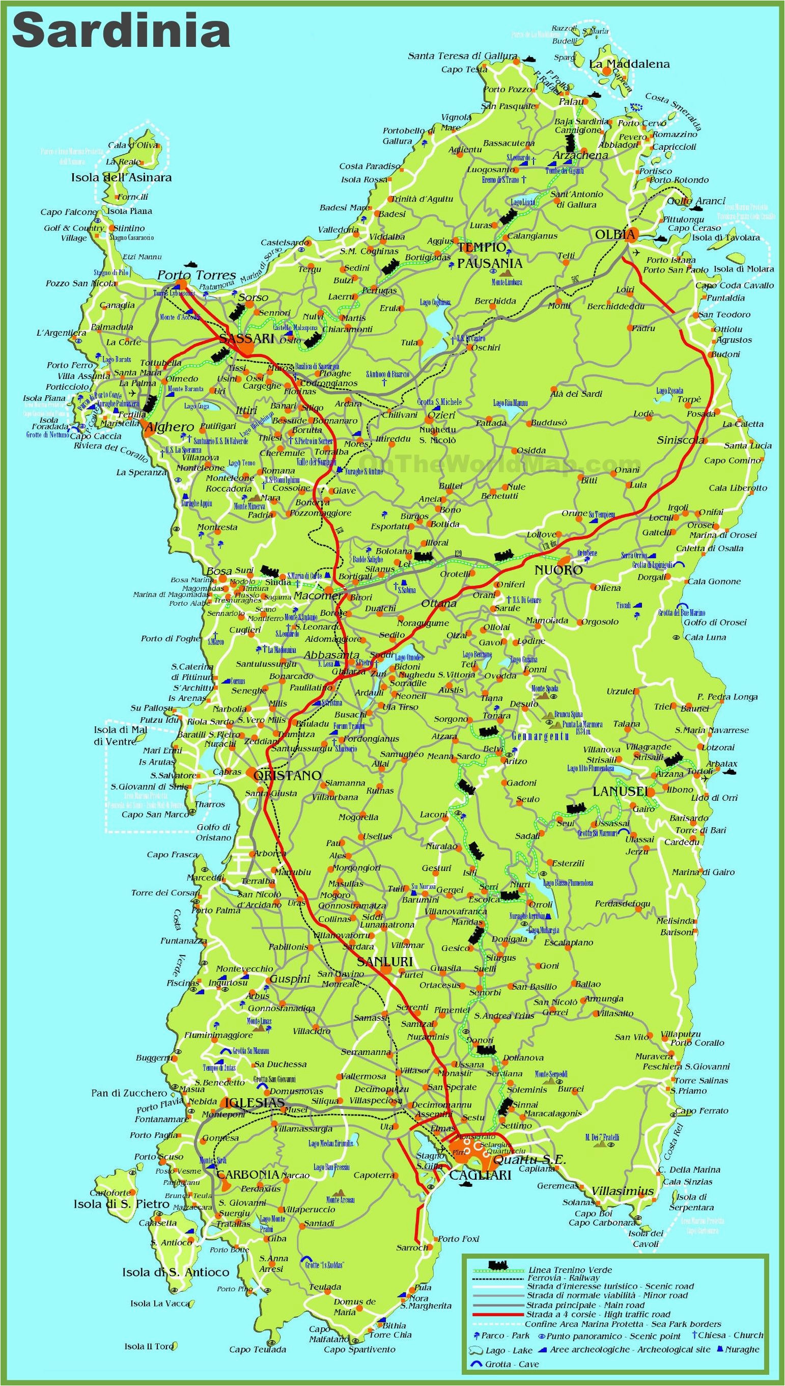 large detailed map of sardinia with cities towns and roads