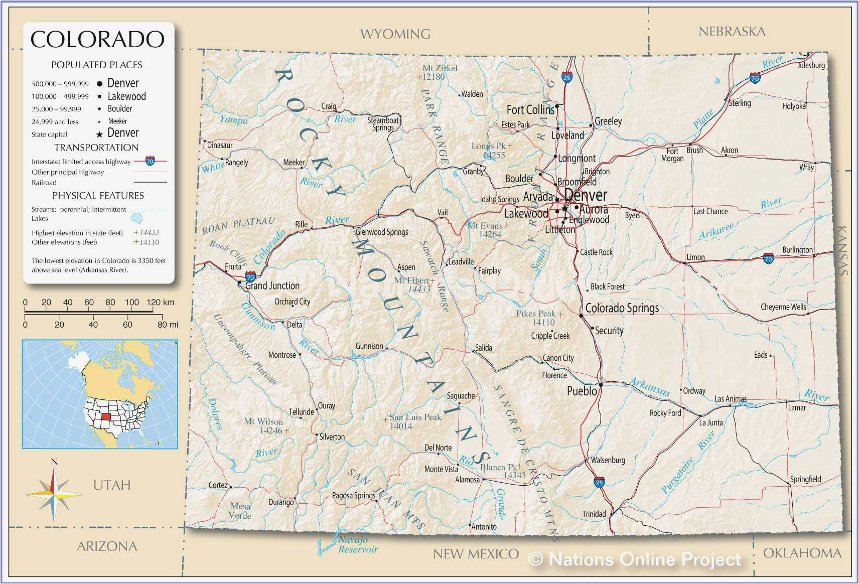 Denver City Texas Map Colorado Map with Counties and Cities ...
