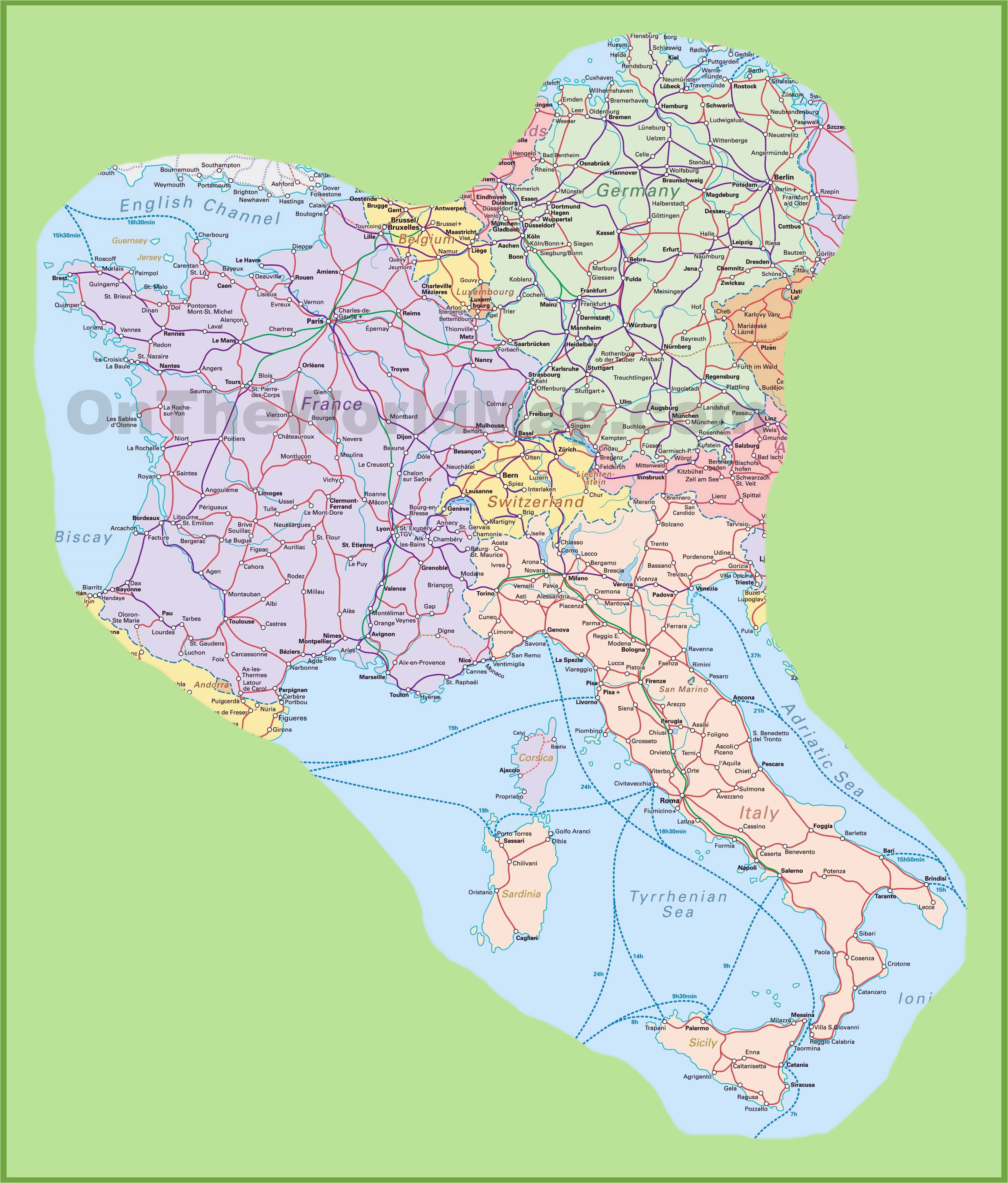 Detailed Road Map Of Italy Map Of Switzerland Italy Germany ...