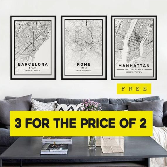 city map prints 3 for the price of 2 modern contemporary poster in