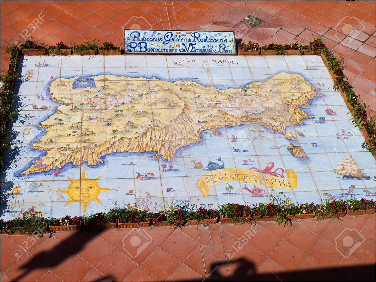 ceramic map of the island of capri italy stock photo picture and