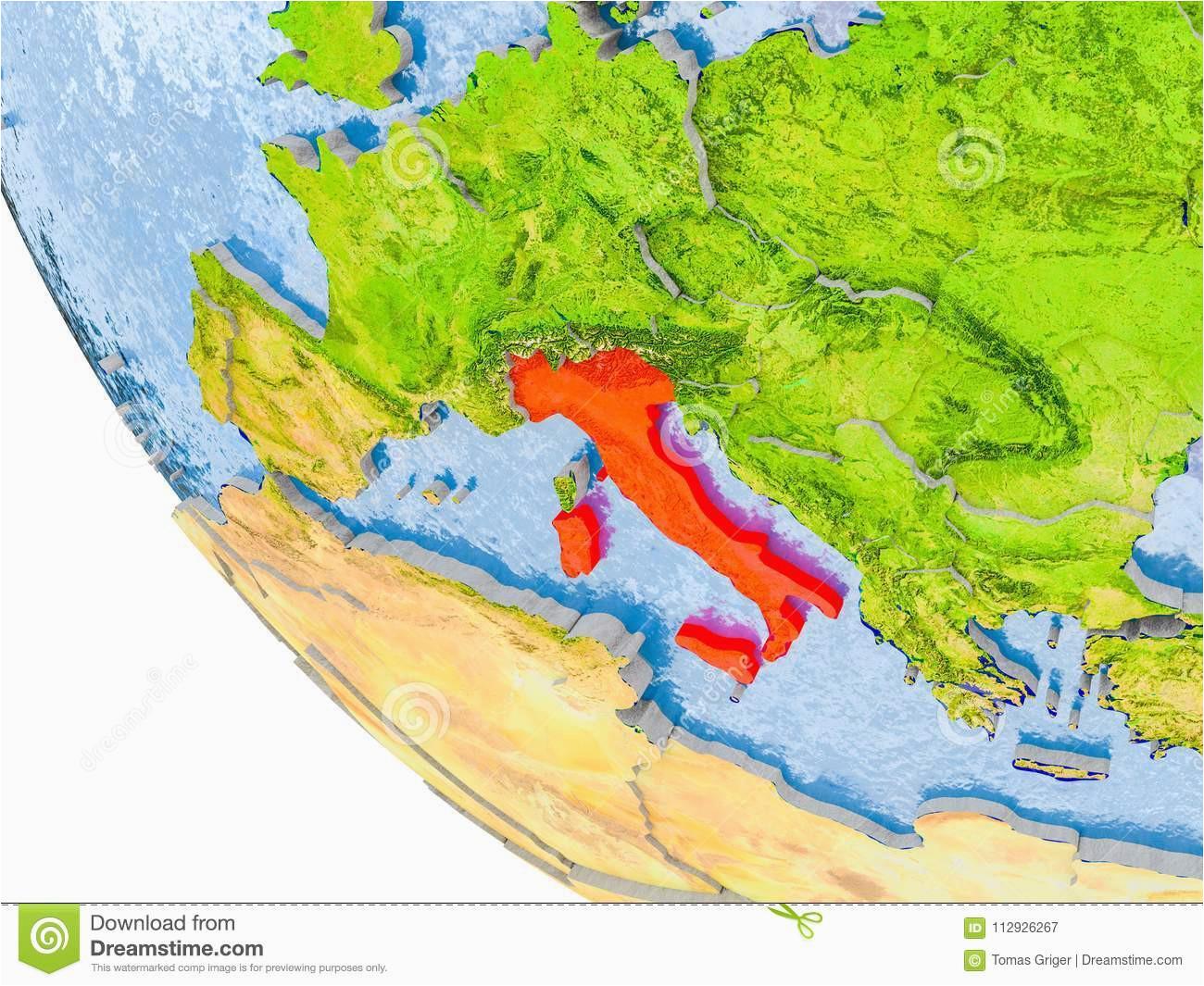 italy on globe stock illustration illustration of european 112926267
