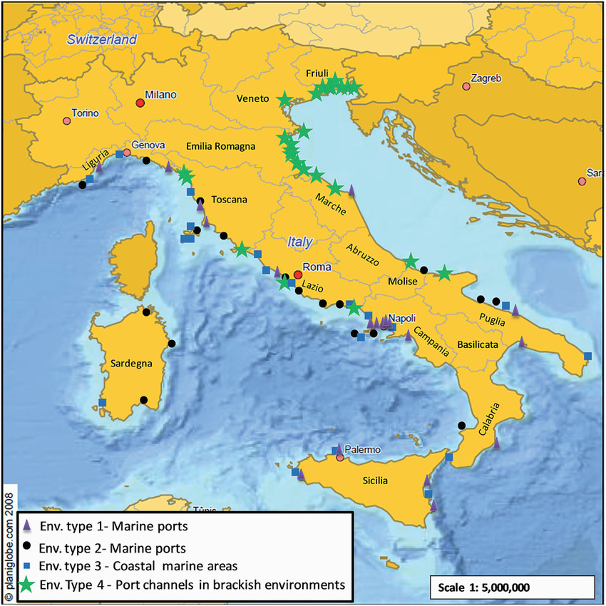 geographical location of sites in italian coastal regions for the