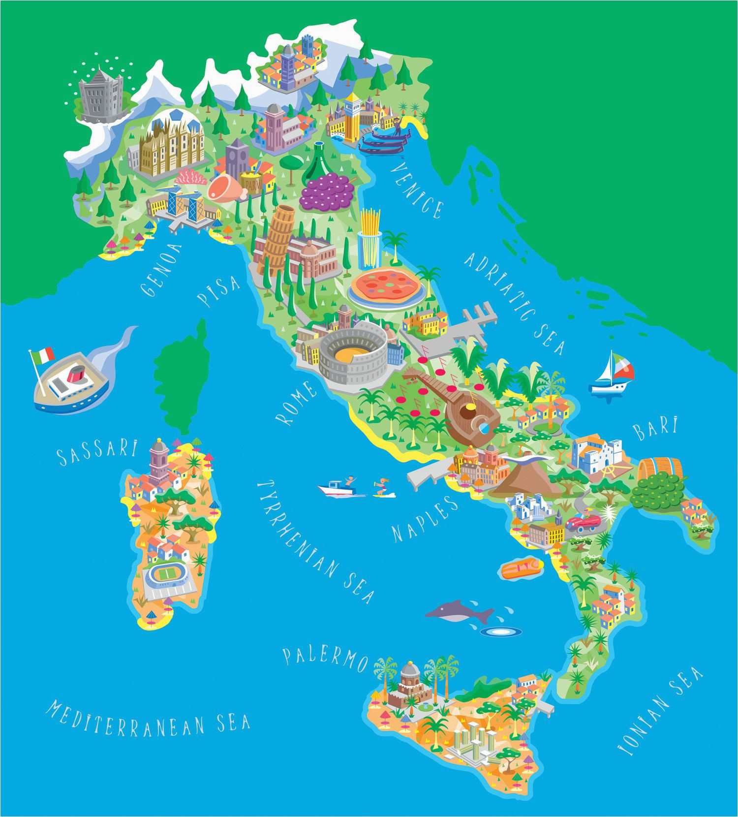 Map Of Italy For Children.Italy Map For Kids Secretmuseum
