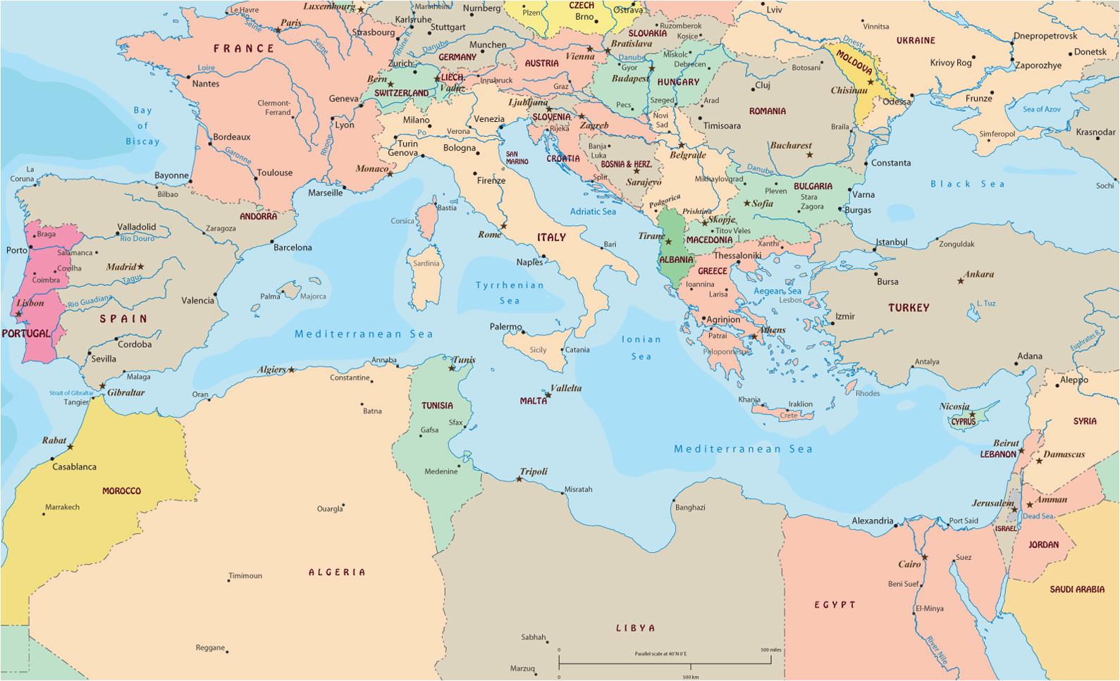 political map of mediterranean sea region
