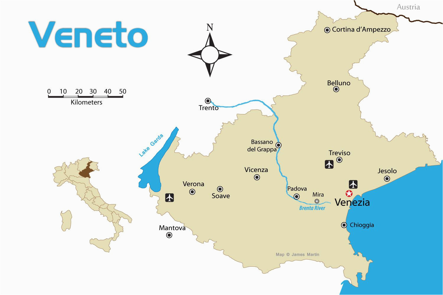 veneto region of northern italy tourist map with cities
