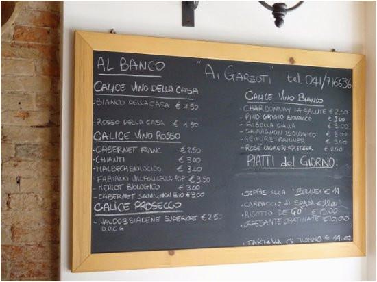 menu esposto sulla lavagna picture of ai garzoti venice tripadvisor