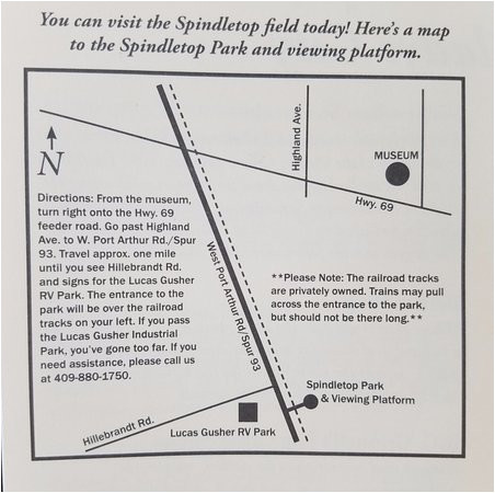 map provided by the meseum picture of spindletop park viewing