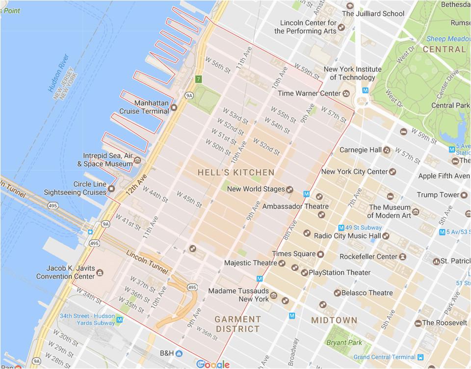 new york city midtown west neighborhood map