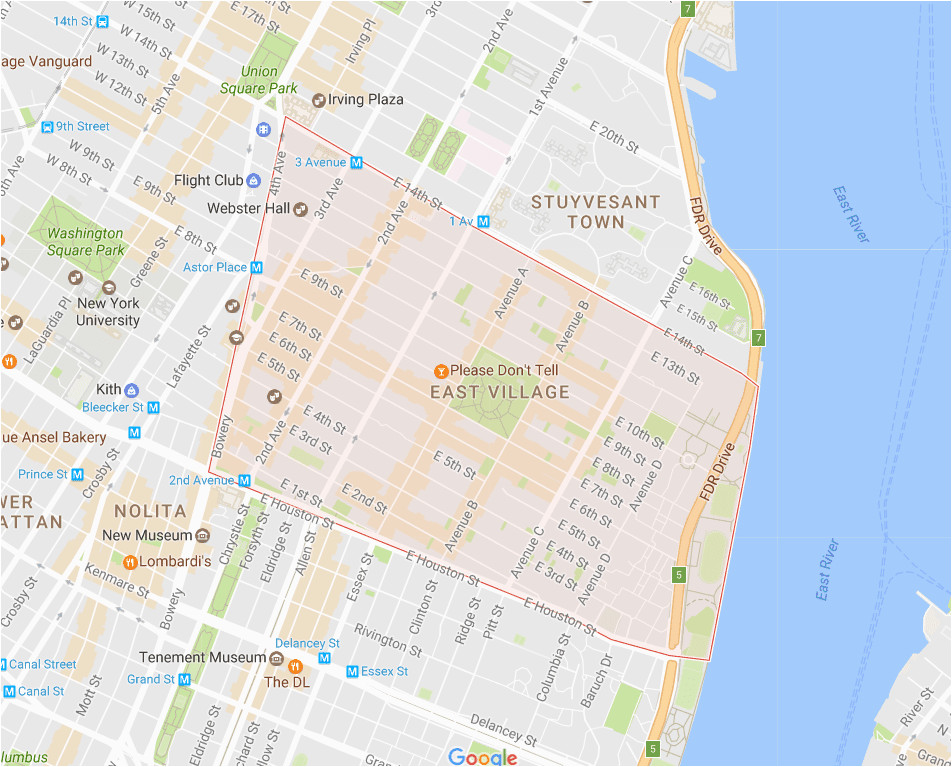 new york city east village neighborhood map