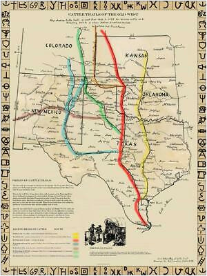 cattle trails of the old west map reproduction lonesome dove cattle