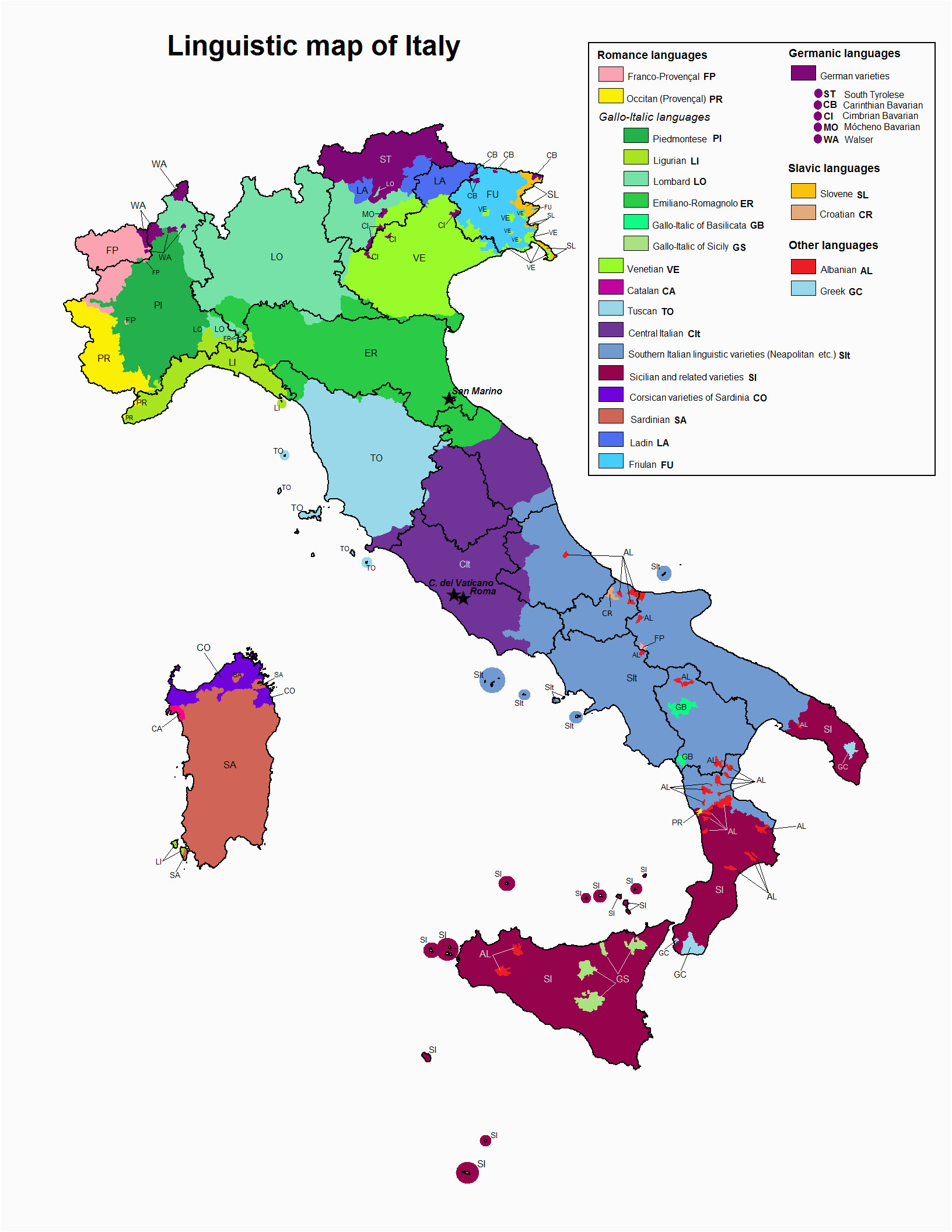 Map 0f Italy Linguistic Map Of Italy Maps Italy Map Map Of Italy Regions