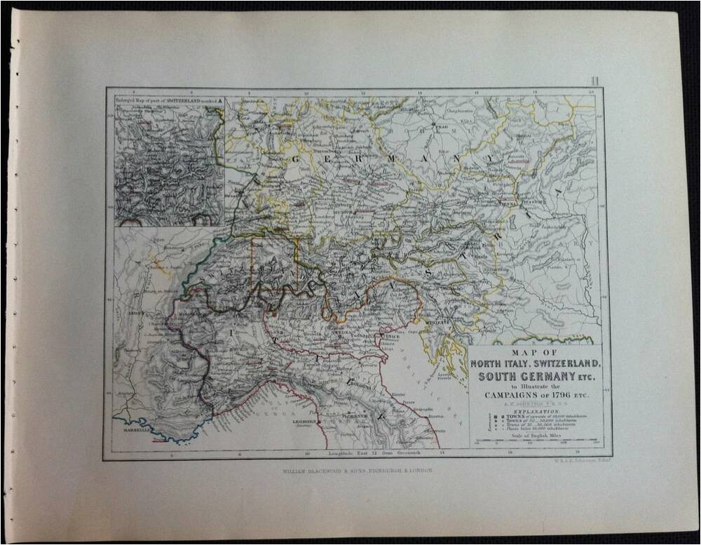 map battle campaign north italy switzerland italy c1796 engraved