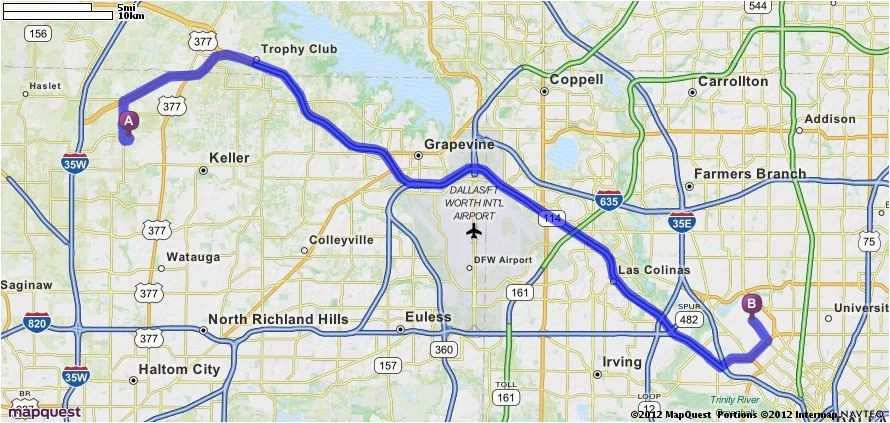 driving directions from 4953 ambrosia dr fort worth texas 76244 to