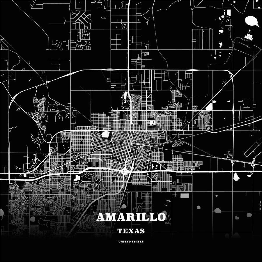 Map Of Amarillo Texas Black Map Poster Template Of Amarillo Texas ...