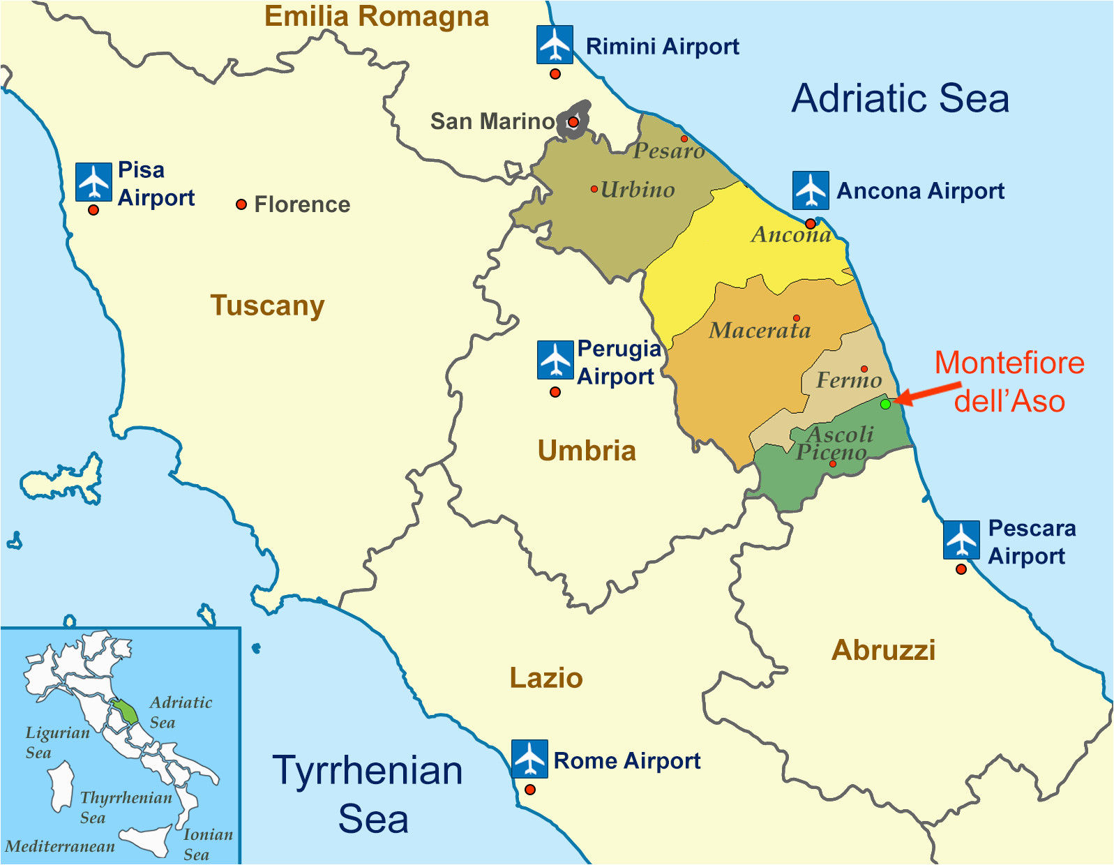 Map Of Ancona Italy Location Of Montefiore Dell aso Province