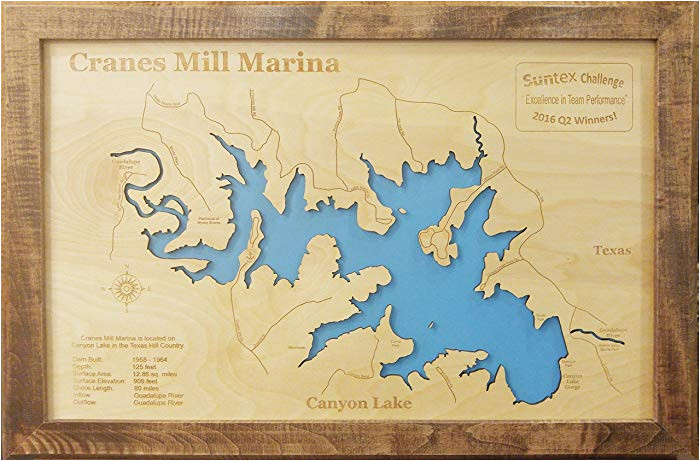 amazon com canyon lake texas framed wood map wall hanging handmade