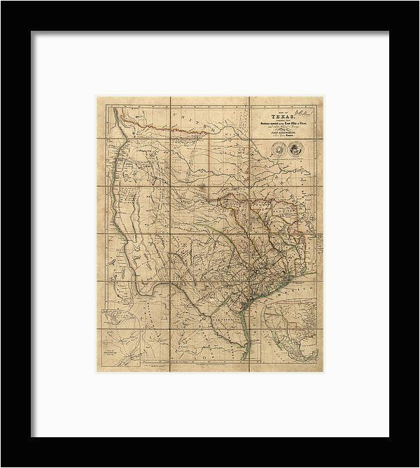antique map of texas by john arrowsmith 1841 framed print by blue