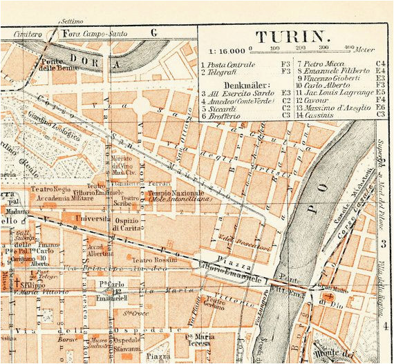 turin torino italy city map 19th century map antique 1890s