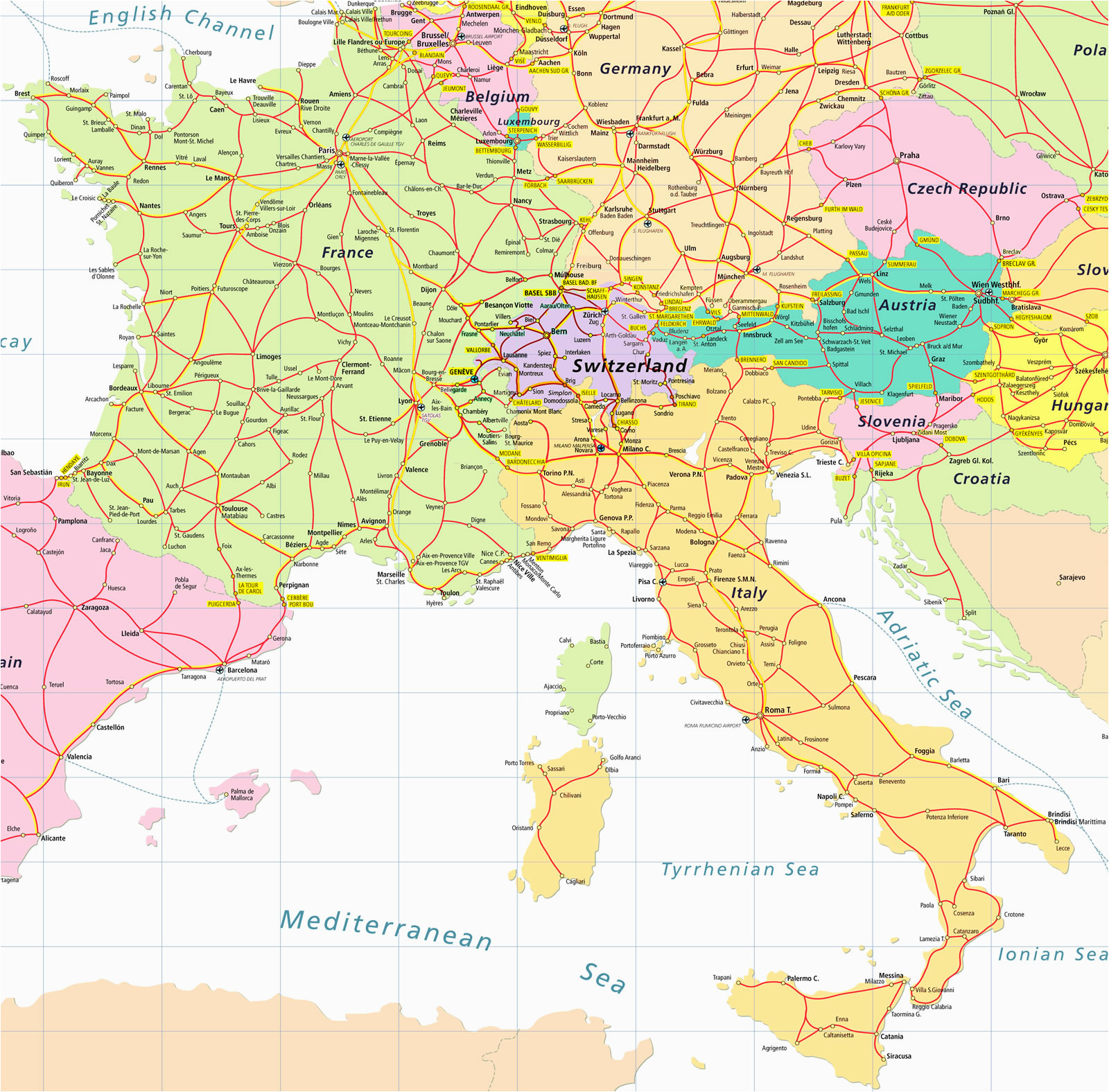 Map Of France To Print.Map Of France And Italy And Switzerland Secretmuseum