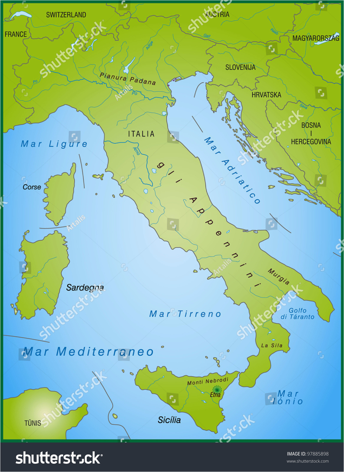map of italy and surrounding countries printable map hd