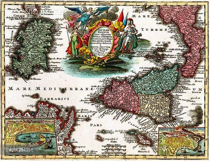 18th century map of sicily and sardinia italy maps sicily