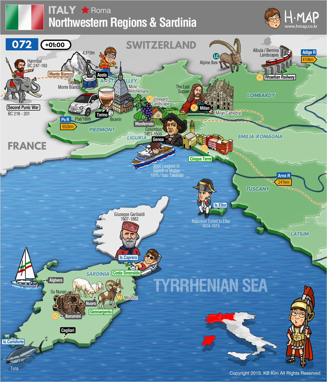 italy northwestern regions map sardinia map illustration travel