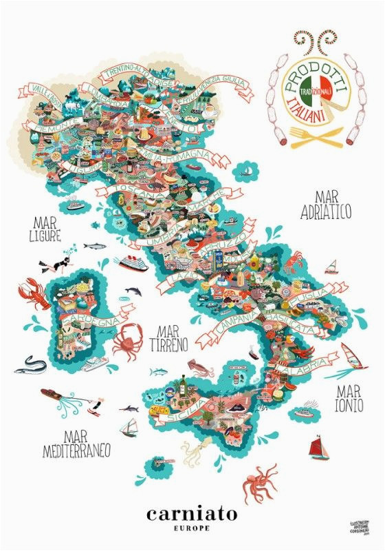 antonie corbineau has created an illustrated food map depicting