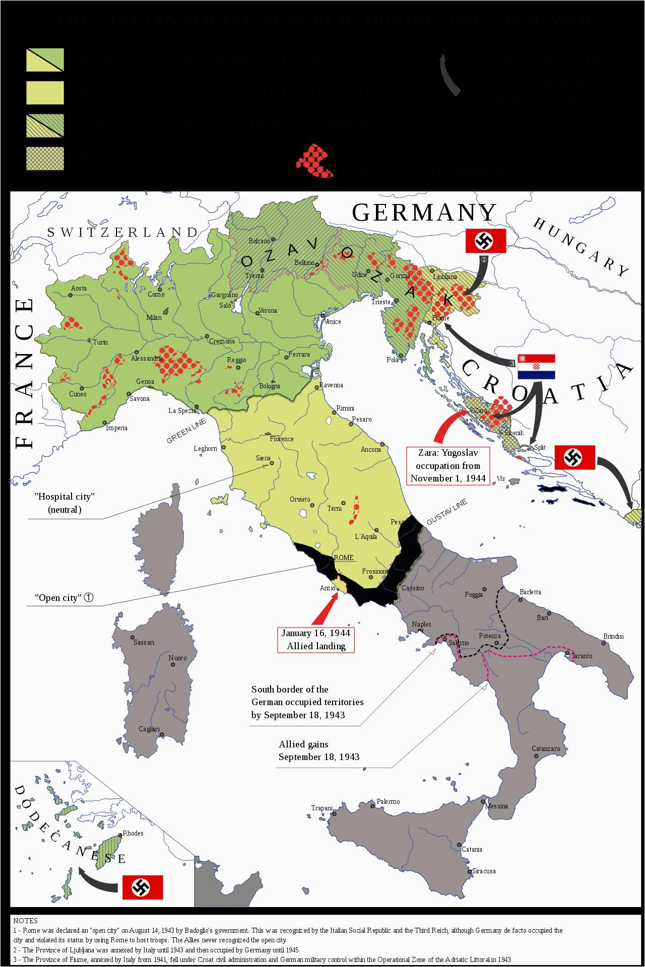 map of the italian social republic 1943 1945 its territory w