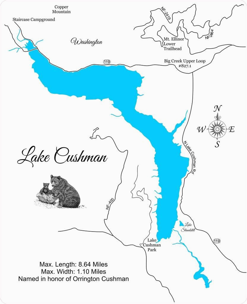 lake cushman and lake standstill washington wood laser cut map