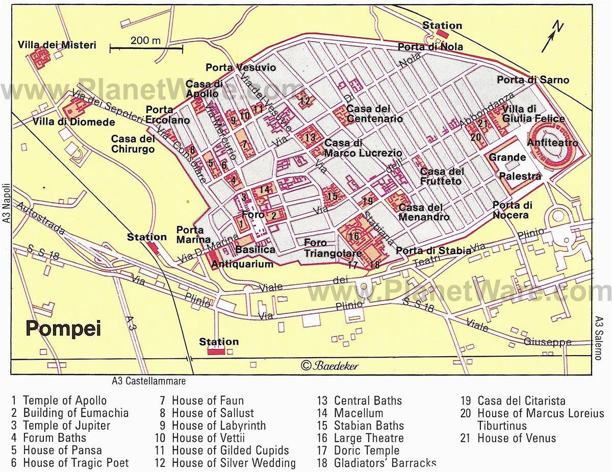 map of pompei pompeji und heraklium pompeji antike und italien