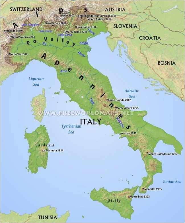 Simple Map Of Italy.Map Of Italy Rivers Simple Italy Physical Map Mountains Volcanoes
