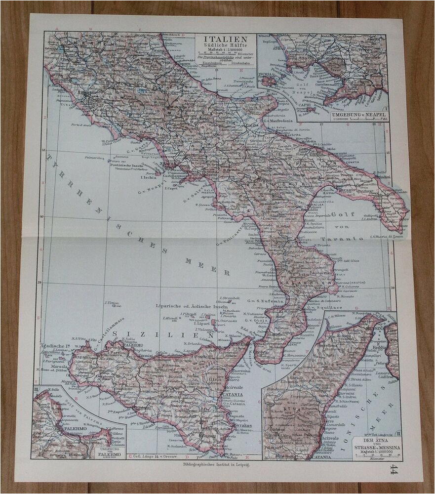 1928 original vintage map of southern italy sicily calabria rome