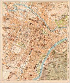 turin torino italy city map 19th century map antique 1890s
