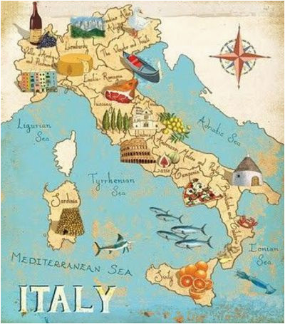 Map Of Italy Torino.Map Of Italy Turin Italy By Gumbo Illustration Travel Italy