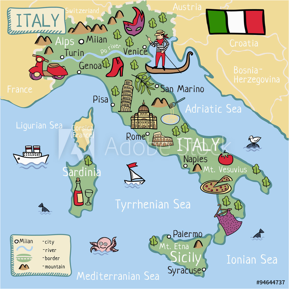fotografie obraz cartoon vector map of italy for kids posters cz