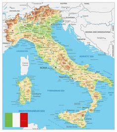 simple italy physical map mountains volcanoes rivers islands
