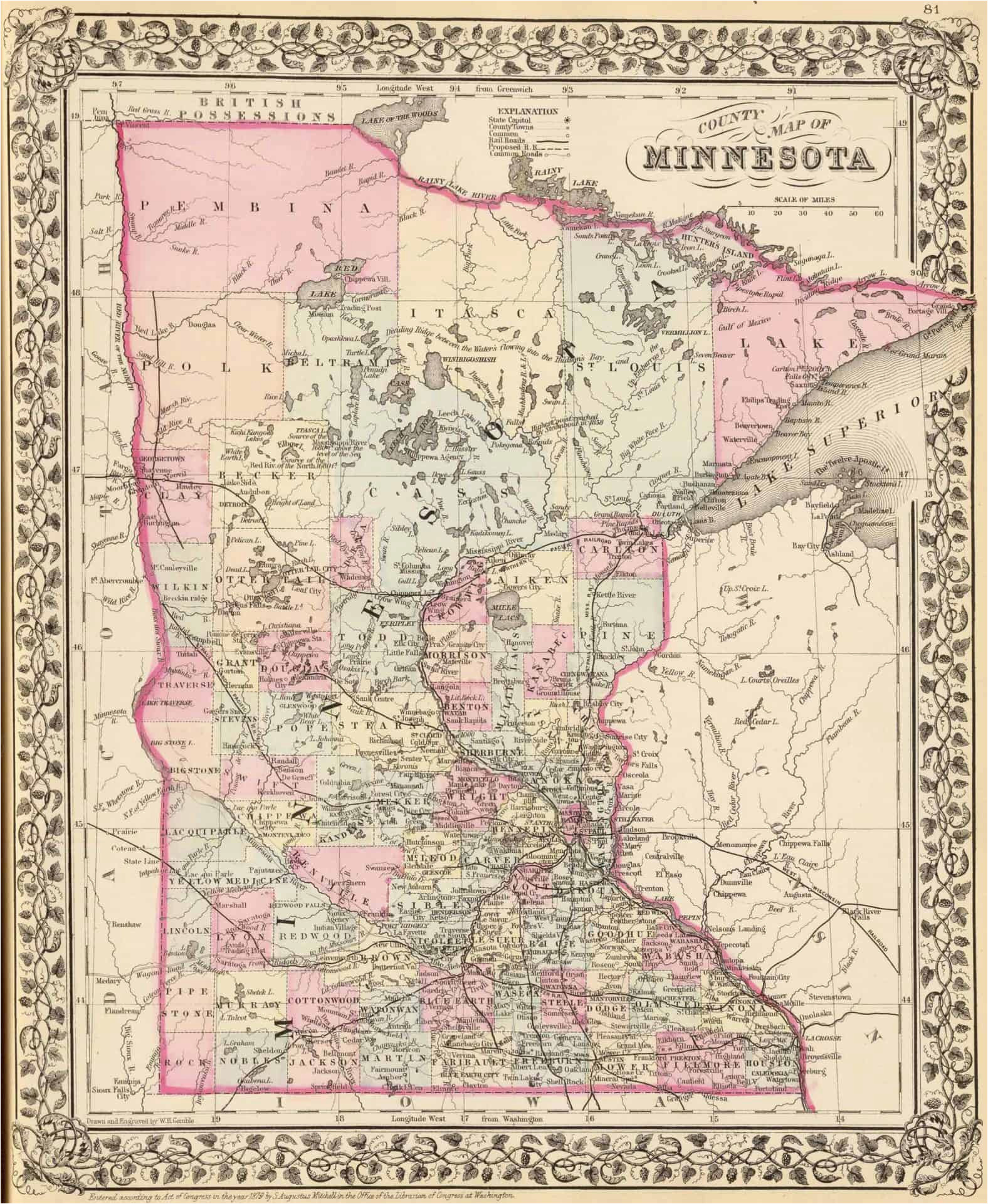old historical city county and state maps of minnesota