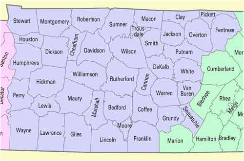 Map Of Middle Tennessee Counties and Cities County Map Tenn ...