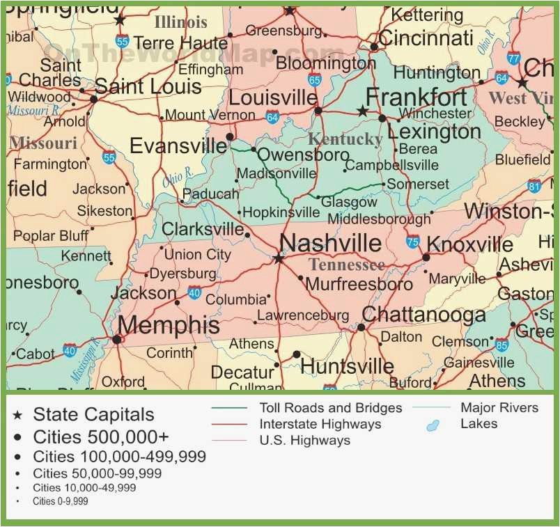 Map Of Missouri and Tennessee Map Of Kentucky and Tennessee ...